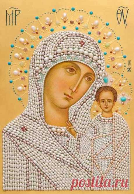 Икона Богородицы для вышивки бисером