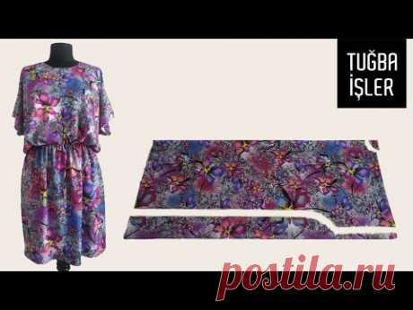 Как просто сшить практичное летнее платье и сделать выкройку (Очень легкий способ) | Tuğba İşler
