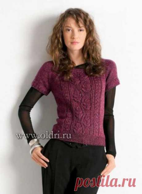 Пуловер с короткими рукавами вязание спицами