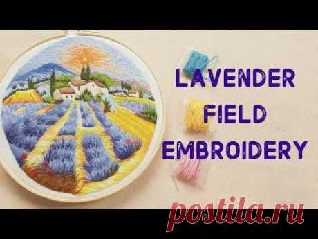 Hand Embroidery World - Lavender Field Landscape Embroidery - Landscape Embroidery