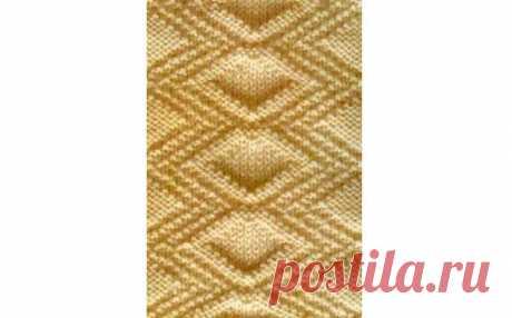 Геометричный узор на спицах Геометричный узор на спицах для плотных теплых вещей.