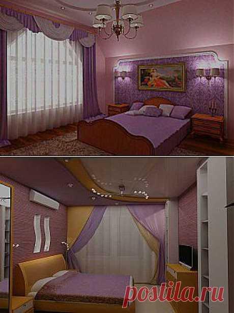 Уникальная спальня в сиреневых тонах