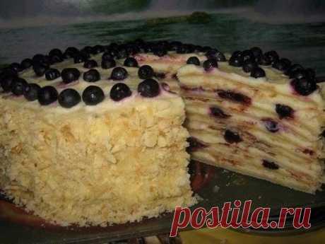 Торт «лесная ягодка» на сковороде Очень вкусный торт,на который по времени приготовления ушло всего 1 час.С наивкуснейшим творожным заварным кремом. | Эксклюзивные шедевры кулинарии.