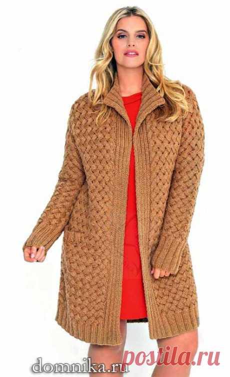 Вязаный кардиган спицами I вязание для полных женщин 50 размера