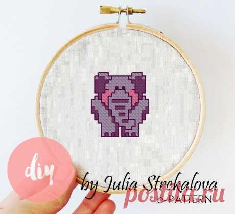 """""""Сиреневый слоник"""" схема для вышивки крестом для начинающих e-pattern.ru"""