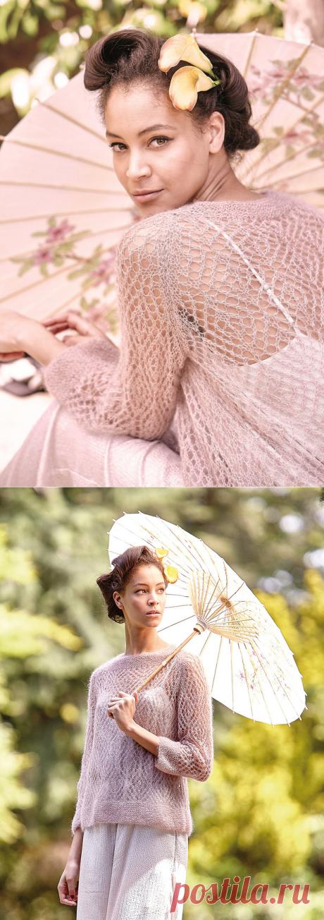 Ажурный пуловер из мохера Ibaraki