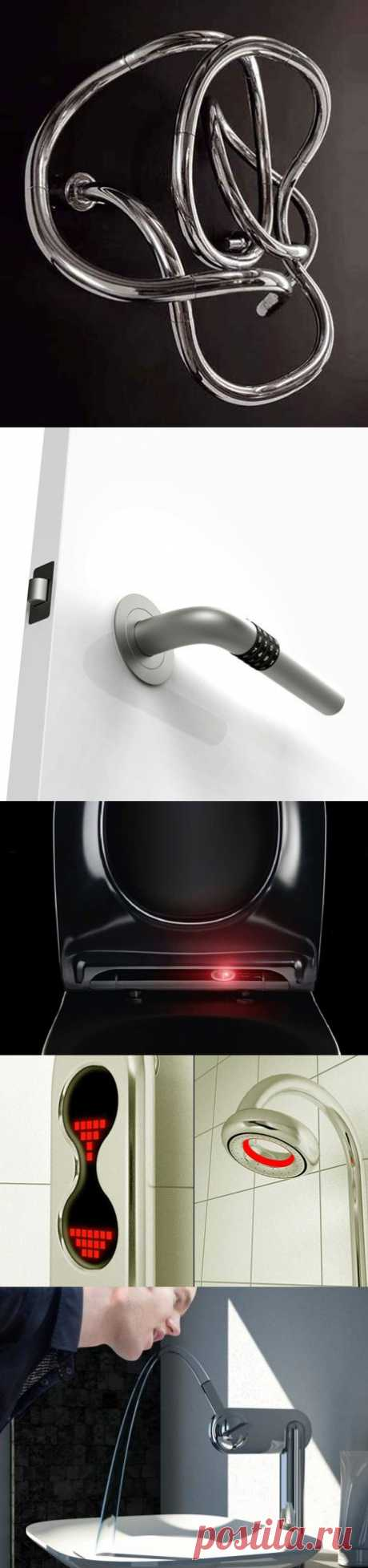 The most crazy ideas of modern repair. Namely: 1. The heated towel rail for a bathroom 2. The door handle for Stierlitz 3. The toilet, eee … is not present after all – a clever toilet bowl 4. Kopek for a shower moreover and with illumination. 5. The crane fountainlet, as in old kind times.