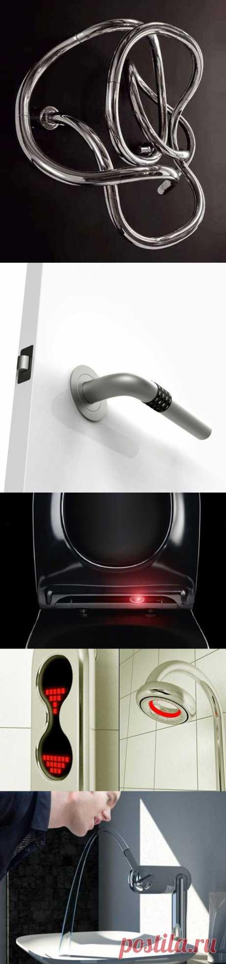 Самые бредовые идеи современного ремонта. А именно: 1. Полотенцесушитель для ванной комнаты 2. Дверная ручка для Штирлица 3. Туалет, эээ… нет все-таки – умный унитаз 4. Копеечку за душ, да еще и с иллюминацией. 5. Кран фонтанчик, как в старые добрые времена.