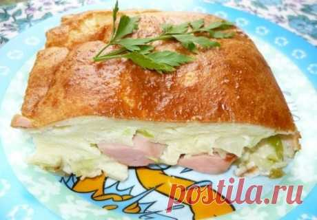 Как приготовить наливной пирог с капустой и сосисками. - рецепт, ингридиенты и фотографии