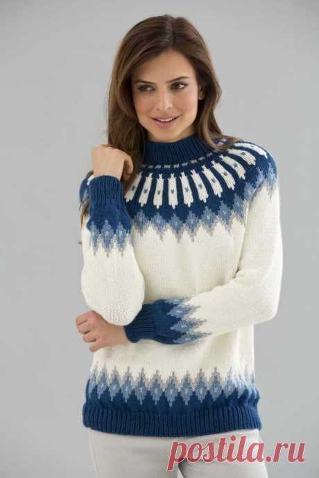 Красивый вязаный свитер со скандинавскими узорами (Вязание спицами) — Журнал Вдохновение Рукодельницы