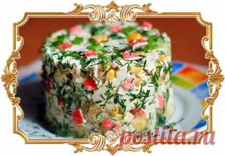 Салат из крабовых палочек, яблока и огурца (#рецепт на скорую руку)  Ингредиенты: Кукуруза 1 бан. Крабовые палочки 250 г. Показать полностью…