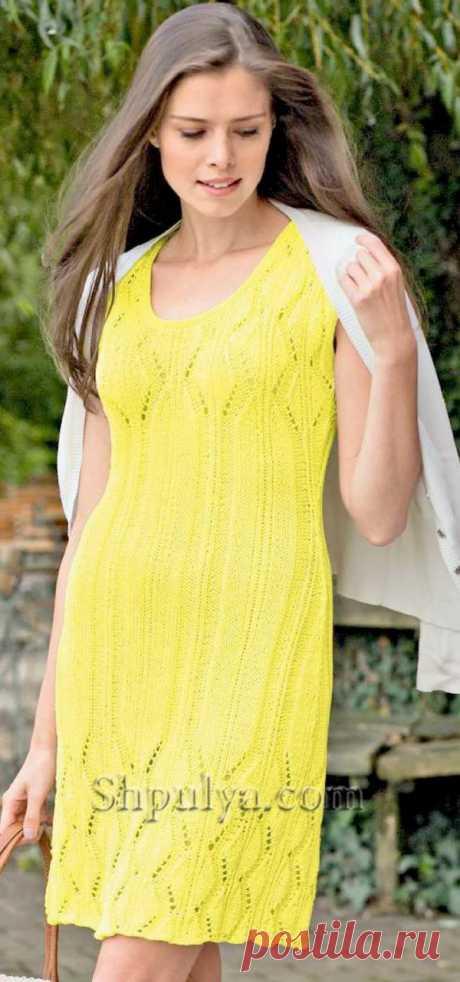 Желтое ажурное платье спицами - SHPULYA.com