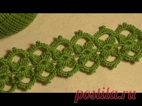 Band with small florets knitted a hook. Irish lace. Video lesson.