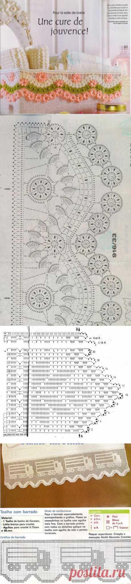 Обвязка крючком края изделия. Схемы вязания