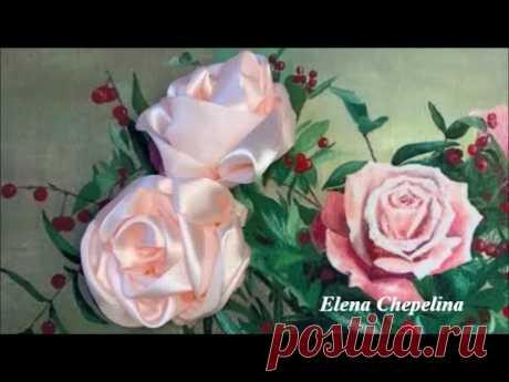 Пышная роза из атласной ленты 5 см своими руками.