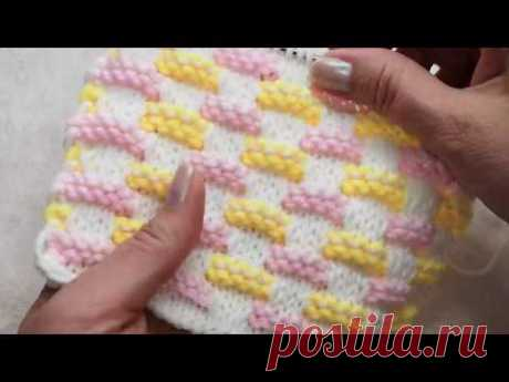 №84 Из остатков пряжи Теплый многоцветный узор для шапки, детских вещей, пледа