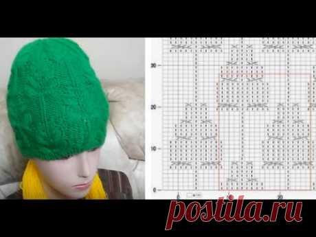 МК по вязанию бесшовной шапочки спицам узором ёлочки/вяжем с 15 по 21 ряд; формируем вершину ёлочки
