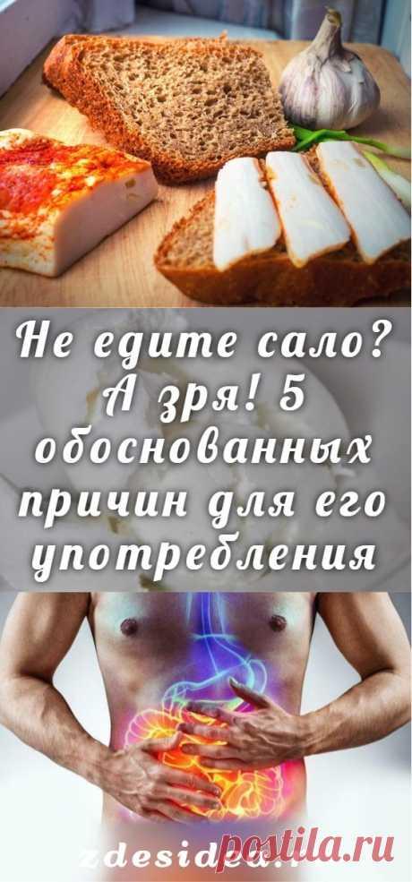 Не едите сало? А зря! 5 обоснованных причин для его употребления - zdesidea.ru