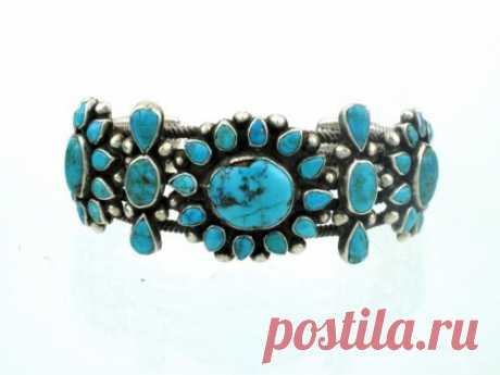 Antique Collection, Zuni Turquoise Cluster Cuff, Circa 1930s