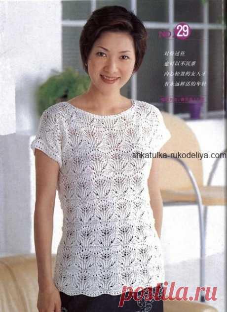 """Кофточка """"Японский ажур"""" Японский ажур для вязания кофточки спицами. Для вязания воспользуйтесь схемами или видео уроком по вязанию узора. Схема раппорта, пустые клетки – лицевые петли, остальное по схеме. 1-2 ряды &…"""