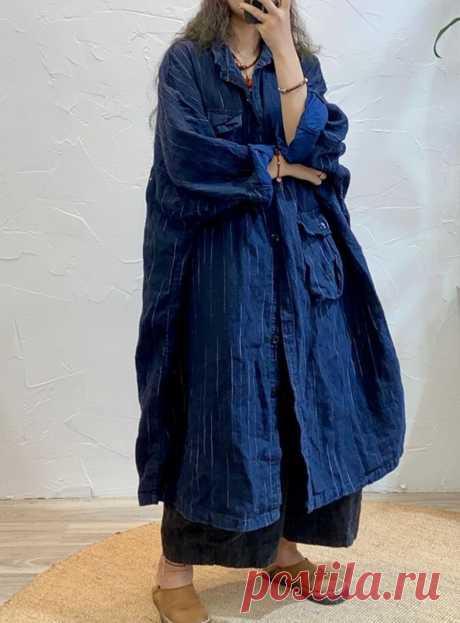 Womens midi Linen coat oversized Coats striped windbreaker   Etsy