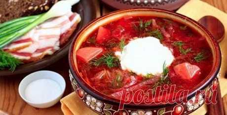 Cтаринные рецепты украинского борща.