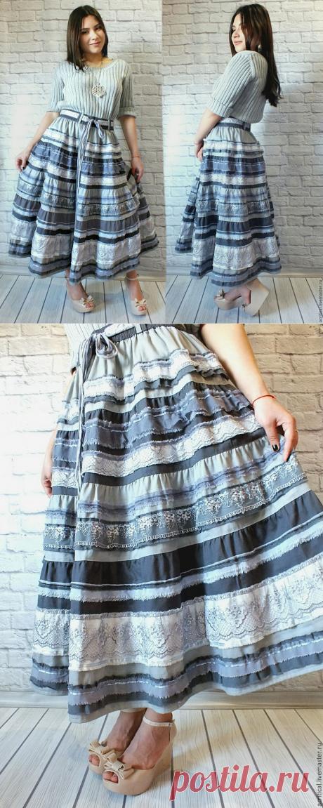 """Купить Бохо-юбка """"Роскошь серого"""" медиум - бохо-стиль, бохо-шик, дизайнерская одежда"""