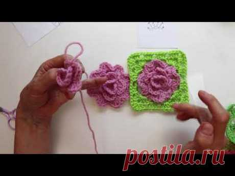 Роза для квадрата крючком. Crochet Rose Granny Square.