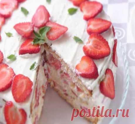 Торт с клубникой - пошаговый рецепт с фото