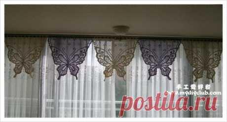 Филейная занавеска с бабочками. Занавеска для кухни своими руками |