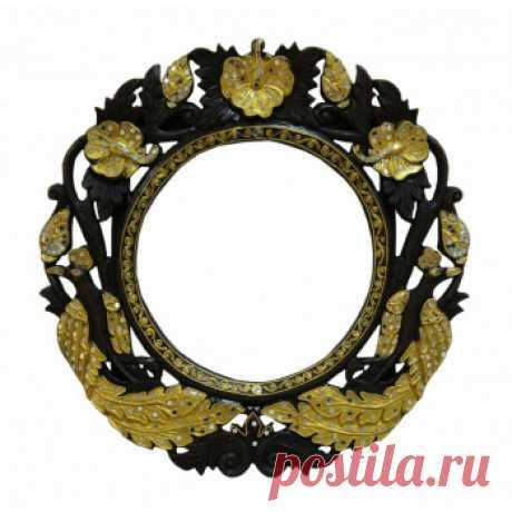 """Рама круглая """"Павлины"""" d50см / коричневый-золото. Дизайнерские зеркала купить в Москве - необычные зеркала, цена в каталоге интернет-магазина ForestGum"""