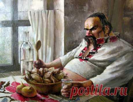 Мне мил хохляцкий борщ с сальцом, К нему — чесночная пампушка, И чарка с красненьким винцом По нраву мне.  Ведь я — толстушка.