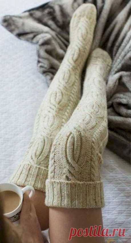 Вязаные чулки «Yukon River» — Shpulya.com - схемы с описанием для вязания спицами и крючком