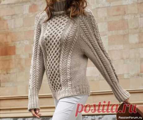 Бесшовный свитер с рельефным декором. МК | Вязание для женщин спицами. Схемы вязания спицами