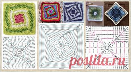 Еще 60 интересных схем квадратных мотивов для вязания крючком - в ваши копилочки   МНЕ ИНТЕРЕСНО   Яндекс Дзен
