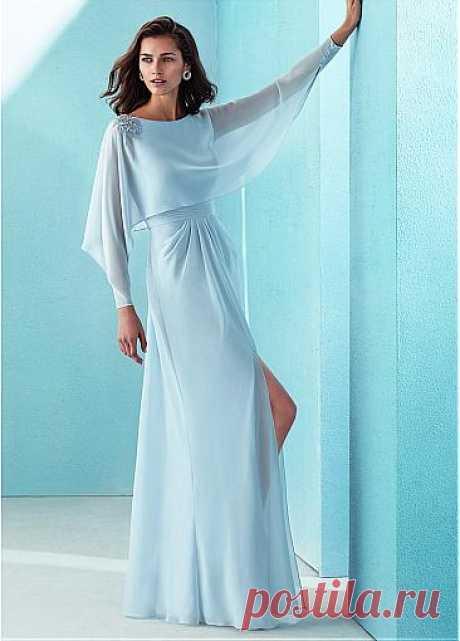 [124.19] красивый шифон Бато декольте длинные рукава-line платье выпускного вечера с Beadings - dressilyme.com