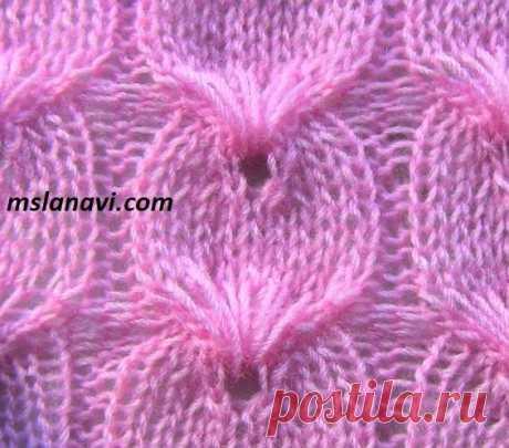 Рельефный узор спицами №126 - Вяжем с Лана Ви