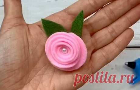 Роза из фетра. Своими руками, быстро и легко. | ИЗ ФЕТРА | Яндекс Дзен