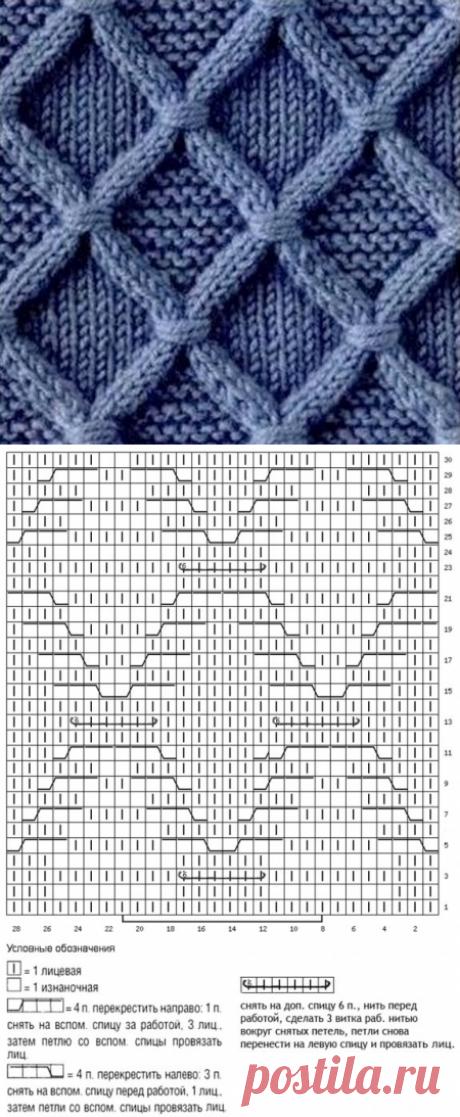Арановый узор с перевитыми петлями - Узоры и схемы спицами
