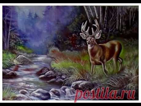 Лесной пейзаж с оленем. Как рисовать пейзажи гуашью. Часть №2