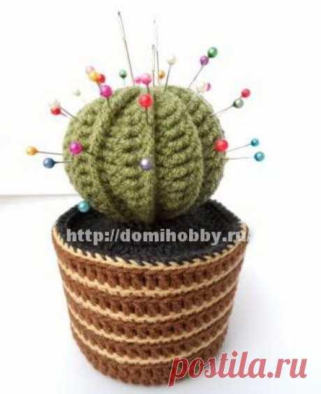 Вязаный кактус - игольница