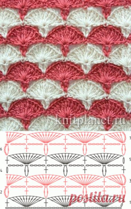 Планета Вязания | Многоцветный узор крючком Гвоздики. Схема узора