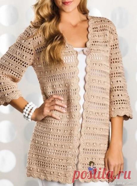 Кардиган песочного цвета - вечная классика | Женская одежда крючком. Схемы и описание