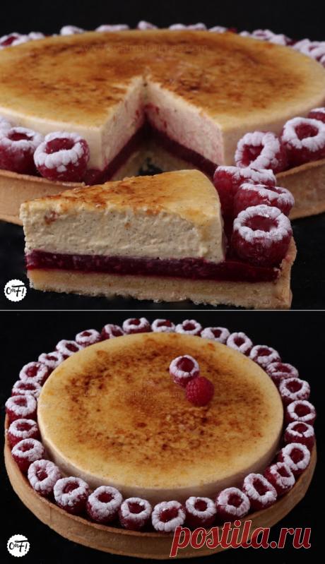 La tarte aux framboises et à la crème brûlée vanille