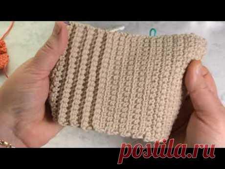 Столбик без накида под нижнюю и верхнюю стенки #3. Single Crochet Stitch into front and back loop.