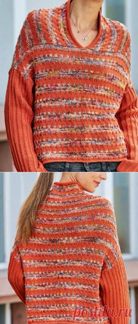 Оригинальный пуловер с интересным переходом от одного цвета пряжи к другому. Вязание спицами. | Марусино рукоделие | Яндекс Дзен