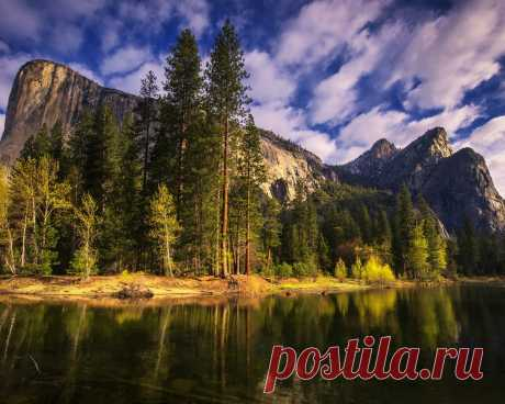 Картинки деревья, горы, природа, река, утро, калифорния, йосемити, california, yosemite national park - обои 1280x1024, картинка №354525