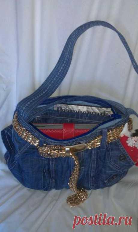 Модная сумка из старых джинсов – Ярмарка Мастеров