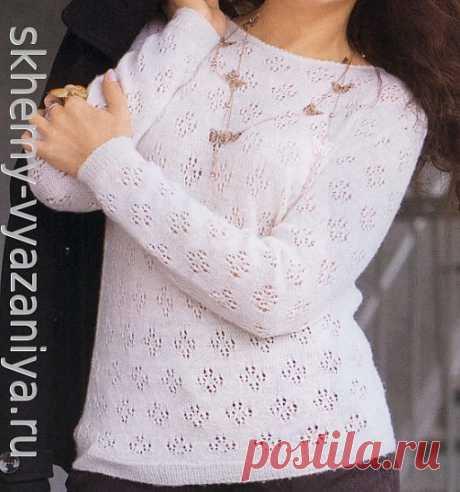 """Классический джемпер с узором """"дырочки"""". Схема и описание вязания спицами. #джемперспицами #вязание_спицами #knitting #вязаниеспицами #knit #спицами"""