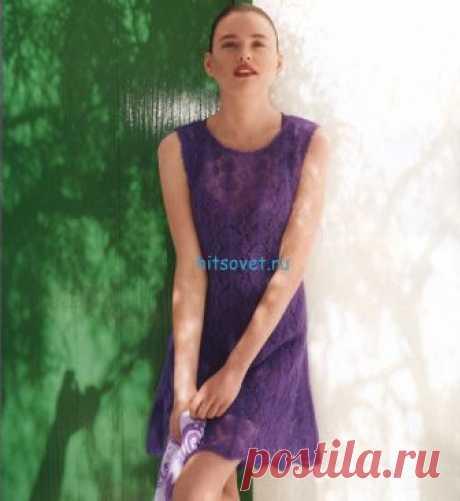 """Вязание платья - Хитсовет Вязание платья. Вам потребуется: пряжа Schulana """"Kid-Seta"""" (70% мохер, 30% шелк, 210 м/25 г): ок. 100 (150) г фиолетового цвета № 42; прямые спицы № 4,5 и 5, крючок № 3,5."""
